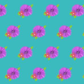 tea cup purple flower on teal background