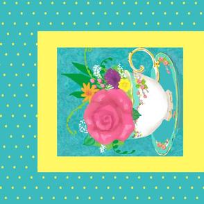 tea cup bouquet fat quarter panel