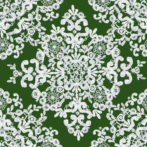 Baroque Lace in Olive fabric by bee3 on Spoonflower - custom fabric