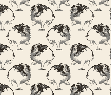 Frolicking Japanese Chin - sepia fabric by rusticcorgi on Spoonflower - custom fabric