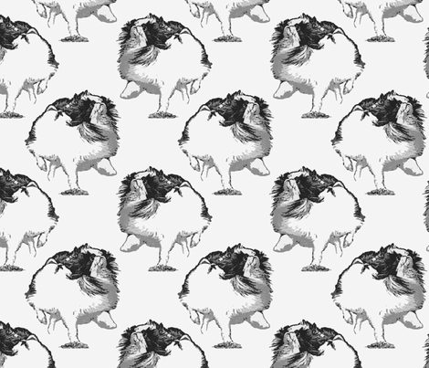 Frolicking Japanese Chin - gray fabric by rusticcorgi on Spoonflower - custom fabric