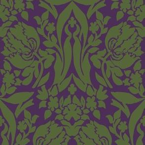 damask frances purple green