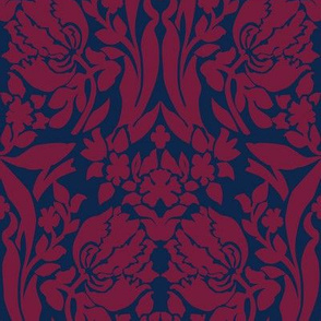 damask frances red blue