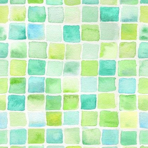 watercolor squares - lime and aqua