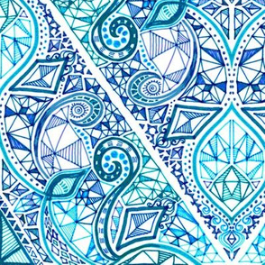 Diamond Doodle in Navy, Turquoise and Teal