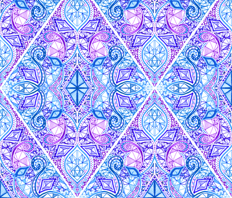 Diamond Doodle In Purple Blue And White Wallpaper