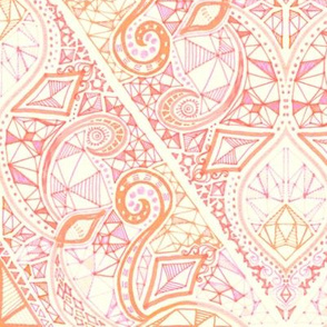 Diamond Doodle in Soft Peach, Pink and Cream