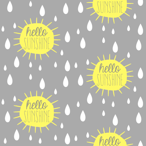 Hello Sunshine Rain Drops fabric by bub&cub on Spoonflower - custom fabric