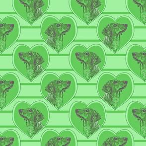 Dachshund heart portraits - green