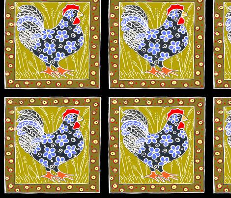 blackandbluehenpotholder fabric by alyson_chase on Spoonflower - custom fabric