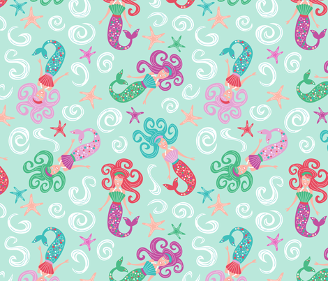 Meandering Mermaids fabric by brendazapotosky on Spoonflower - custom fabric