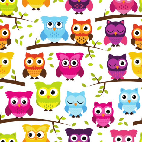 Rainbow Owls and Branches fabric by pinkpueblo on Spoonflower - custom fabric