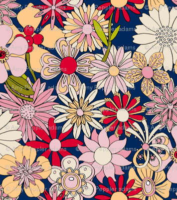 Chelsea (Blue/Red/Pink) || vintage 60s 70s enamel pin brooch flower floral garden pastel sheet illustration spring summer bouquet