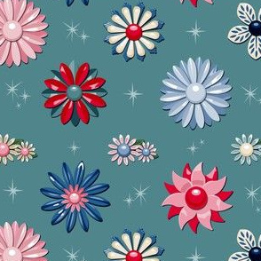 Jackie (Teal/Red/Blue) || flower floral garden vintage 60s 70s enamel brooch pin vector illustration star starburst atomic