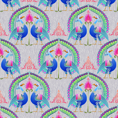 peacock damask driftwood fabric by keweenawchris on Spoonflower - custom fabric