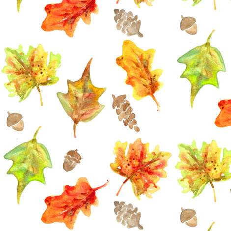 fall leaves and acorns fabric by erinanne on Spoonflower - custom fabric