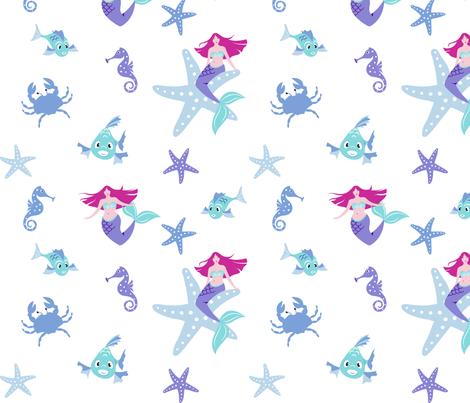 Mermaids wide awake fabric by overbye on Spoonflower - custom fabric