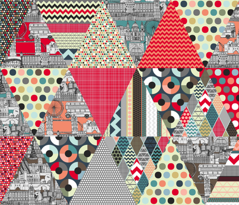 London triangle quilt fabric by scrummy on Spoonflower - custom fabric