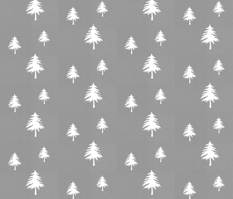 Trees on Grey Linen fabric by modfox on Spoonflower - custom fabric