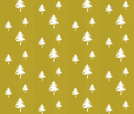 Trees on Mustard Linen fabric by modfox on Spoonflower - custom fabric