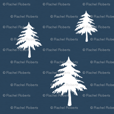 Trees on Navy Linen