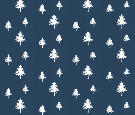Trees on Navy Linen fabric by modfox on Spoonflower - custom fabric