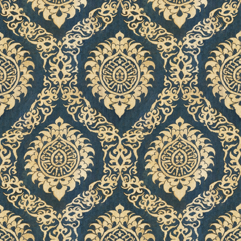 Blue Ogee fabric by wanderingaloud on Spoonflower - custom fabric