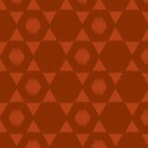 Hexagon Ikat in Rust