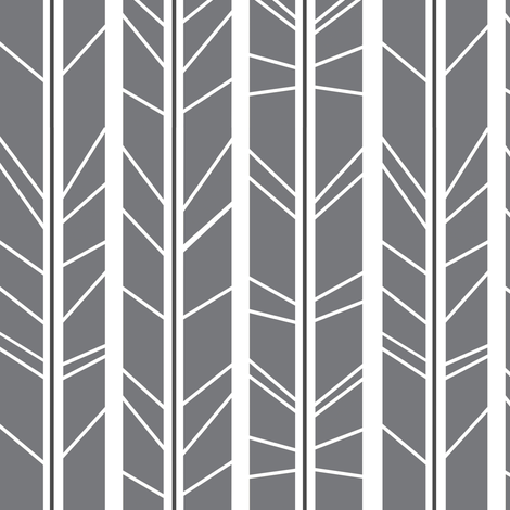 Grey Tree branch herringbone fabric by modfox on Spoonflower - custom fabric