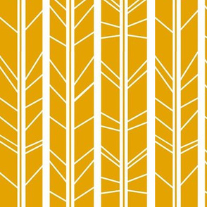 mustard yellow tree branch herringbone