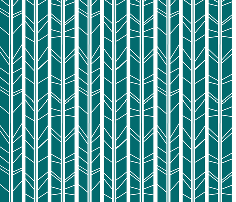 teal tree branch herringbone fabric by modfox on Spoonflower - custom fabric