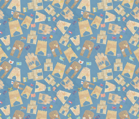 Sand Castle Medley (large) fabric by bee3 on Spoonflower - custom fabric