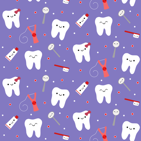 Happy Teeth & Friends - Purple fabric by clayvision on Spoonflower - custom fabric