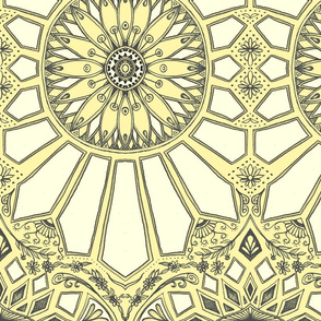 Pale Lemon Yellow Art Deco Geometric Lace