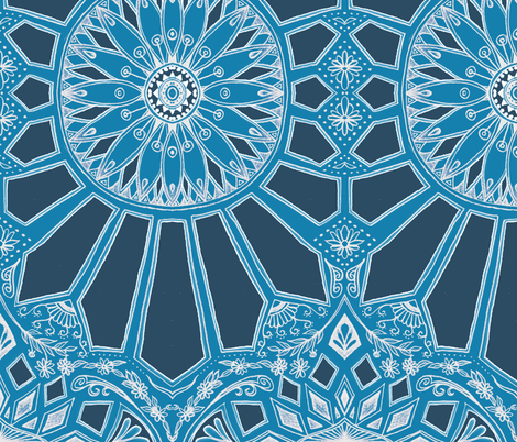 Deep Teal Blue Art Deco Geometric Lace fabric - micklyn ...