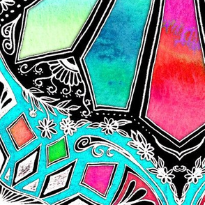 Iridescent Watercolor Brights on Black with Teal