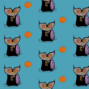 Mosaic Owls Harvest Moon