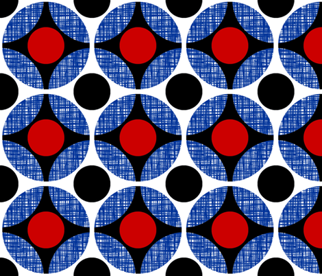 UK Mod Circular red and black, blue net weave by Su_G fabric by su_g on Spoonflower - custom fabric