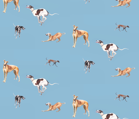 Watercolor Greyhounds  fabric by fancy_beast on Spoonflower - custom fabric