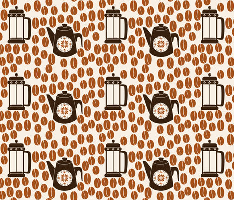 Coffee Bean Coordinate  fabric by onelittleprintshop on Spoonflower - custom fabric