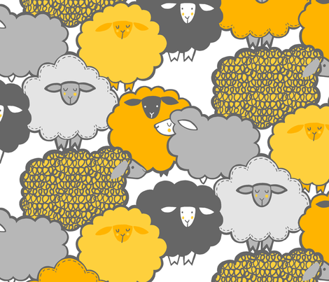 Sheep Shape (YELLOW) fabric by leanne on Spoonflower - custom fabric