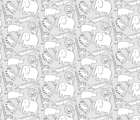 "Lullaby Jungle Neutral 5"" fabric by leanne on Spoonflower - custom fabric"