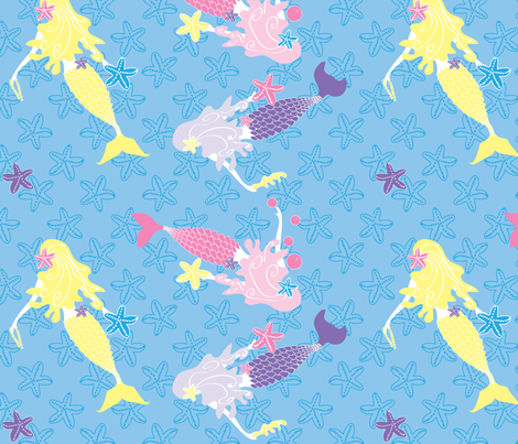 Mermaids Sea Star Gazing day fabric by colour_angel_by_kv on Spoonflower - custom fabric