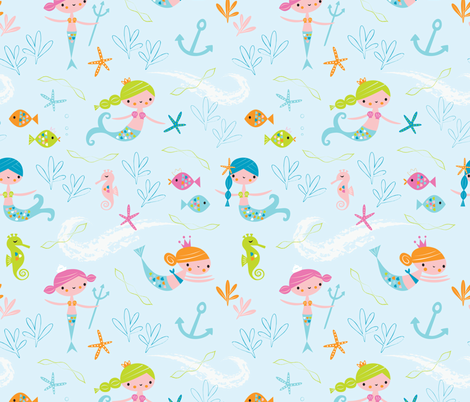 mermaids fabric by shindigdesignstudio on Spoonflower - custom fabric