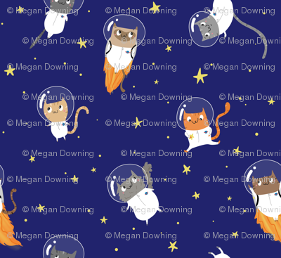 Space cats small fabric pigandpumpkin spoonflower for Space kitty fabric