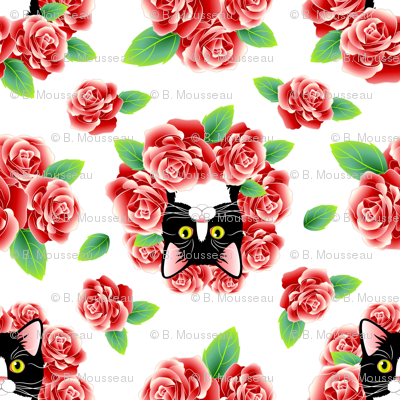 Tuxedo Cat and Roses - White Flavor