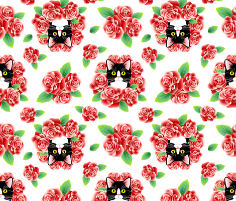 Tuxedo Cat and Roses - White Flavor fabric by bliss_and_kittens on Spoonflower - custom fabric
