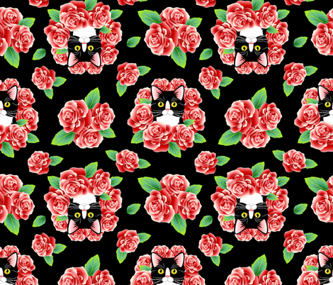 Tuxedo Cat and Roses - Black Flavor fabric by bliss_and_kittens on Spoonflower - custom fabric