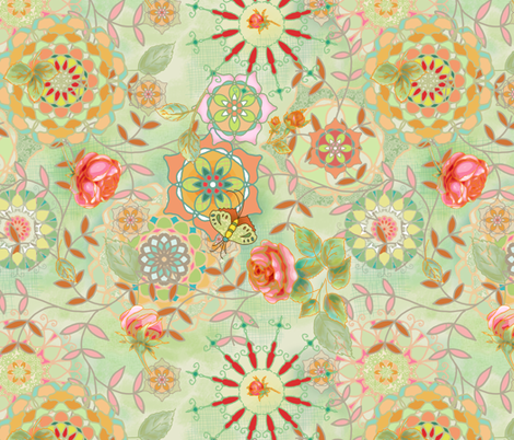 Floral fantasy - green fabric by designed_by_debby on Spoonflower - custom fabric