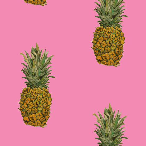 Large Pink Pineapple fabric by the_cat's_pajamas on Spoonflower - custom fabric
